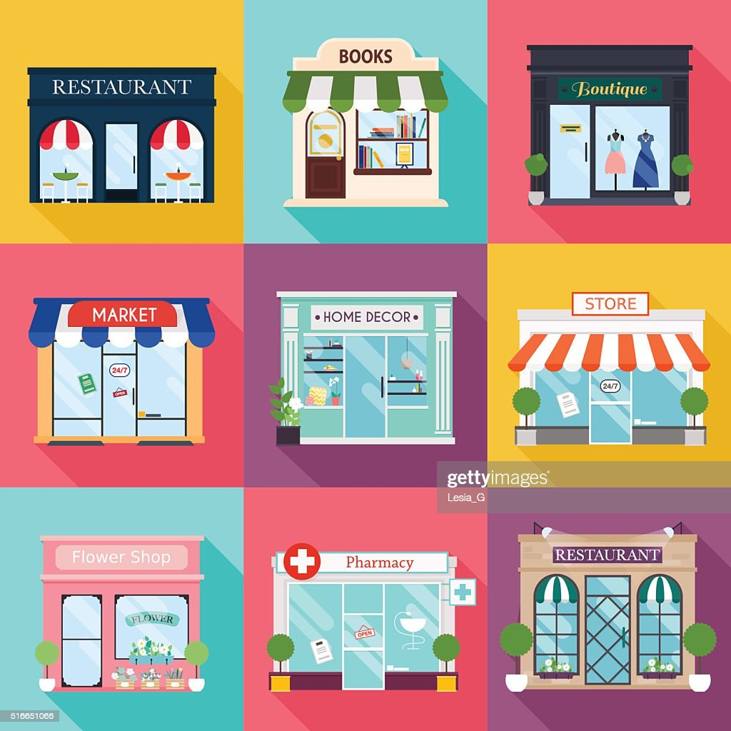 Cool set of vector detailed flat design restaurants and shops