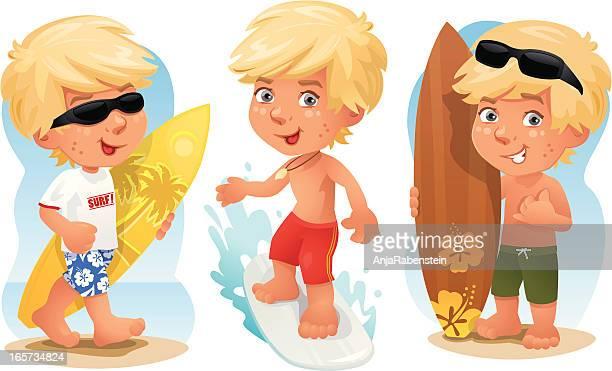 ilustrações de stock, clip art, desenhos animados e ícones de menino estilo surfista - loira