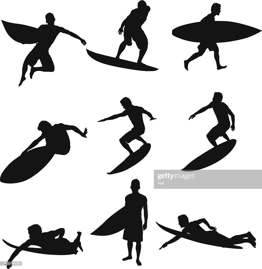 Cool surfer dude riding waves surfing