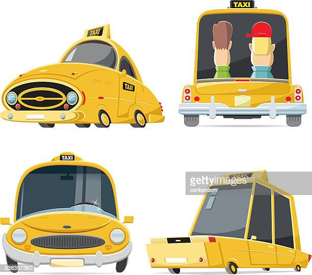 cool taxi set - yellow taxi stock illustrations, clip art, cartoons, & icons