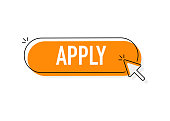 Cool vector 'Apply' button with cursor in flat design.