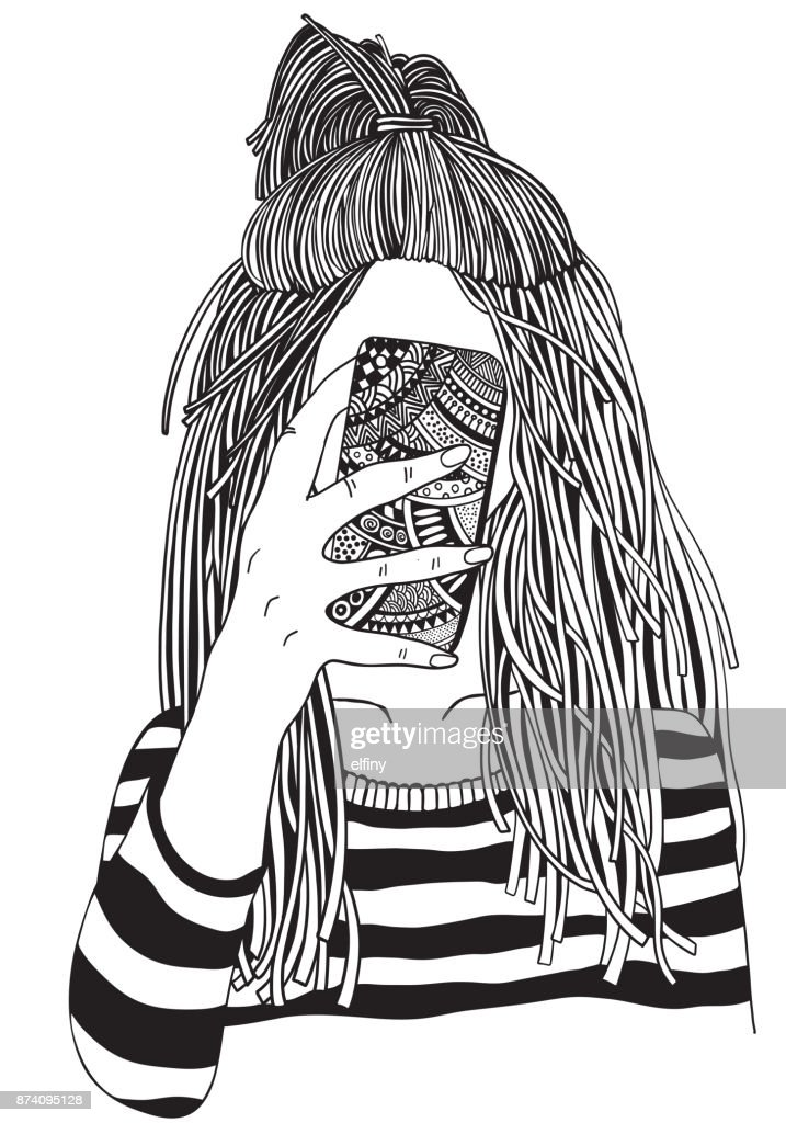 Cool yong girl taking picture on smartphone. Adult Coloring book page. Young woman. Black and white Hand-drawn vector illustration.