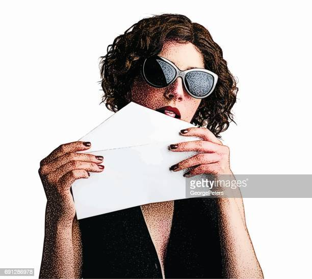 cool, young woman sending a letter - licking stock illustrations, clip art, cartoons, & icons