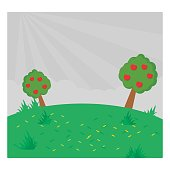 coolest and cute cartoon scenery of two apple tree in the green meadow