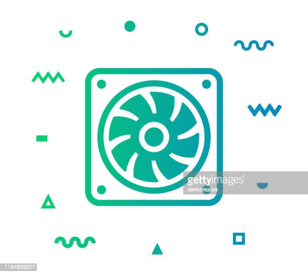 cooling fan line style icon design - electric fan stock illustrations