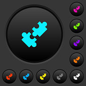 Cooperation dark push buttons with color icons