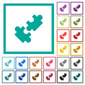 Cooperation flat color icons with quadrant frames