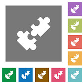 Cooperation square flat icons