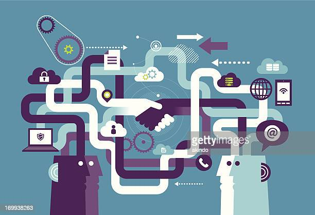 cooperation - technology stock illustrations, clip art, cartoons, & icons