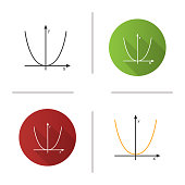 Coordinate system with parabola icon