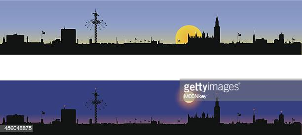 Copenhagen Denmark Skyline - Day and Night