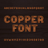 Copper metal typeface. Retro alphabet font. Metallic letters and numbers.