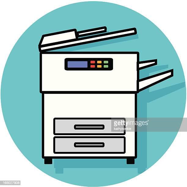 copy machine icon - photocopier stock illustrations, clip art, cartoons, & icons