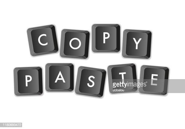 ilustrações de stock, clip art, desenhos animados e ícones de copy paste computer keys keyboard - letrac