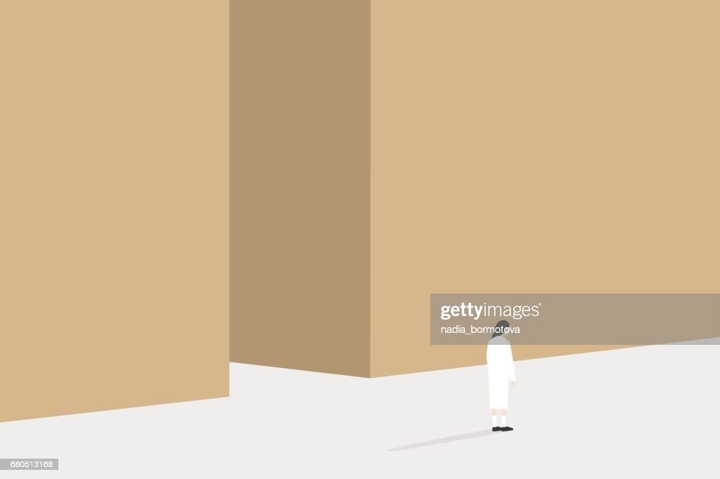 Copy space conceptual illustration. Back view of young woman standing beside the high wall / editable vector illustration, clip art