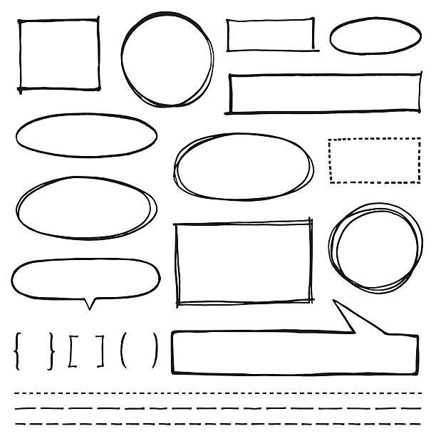 copy space design element set - pencil drawing stock illustrations