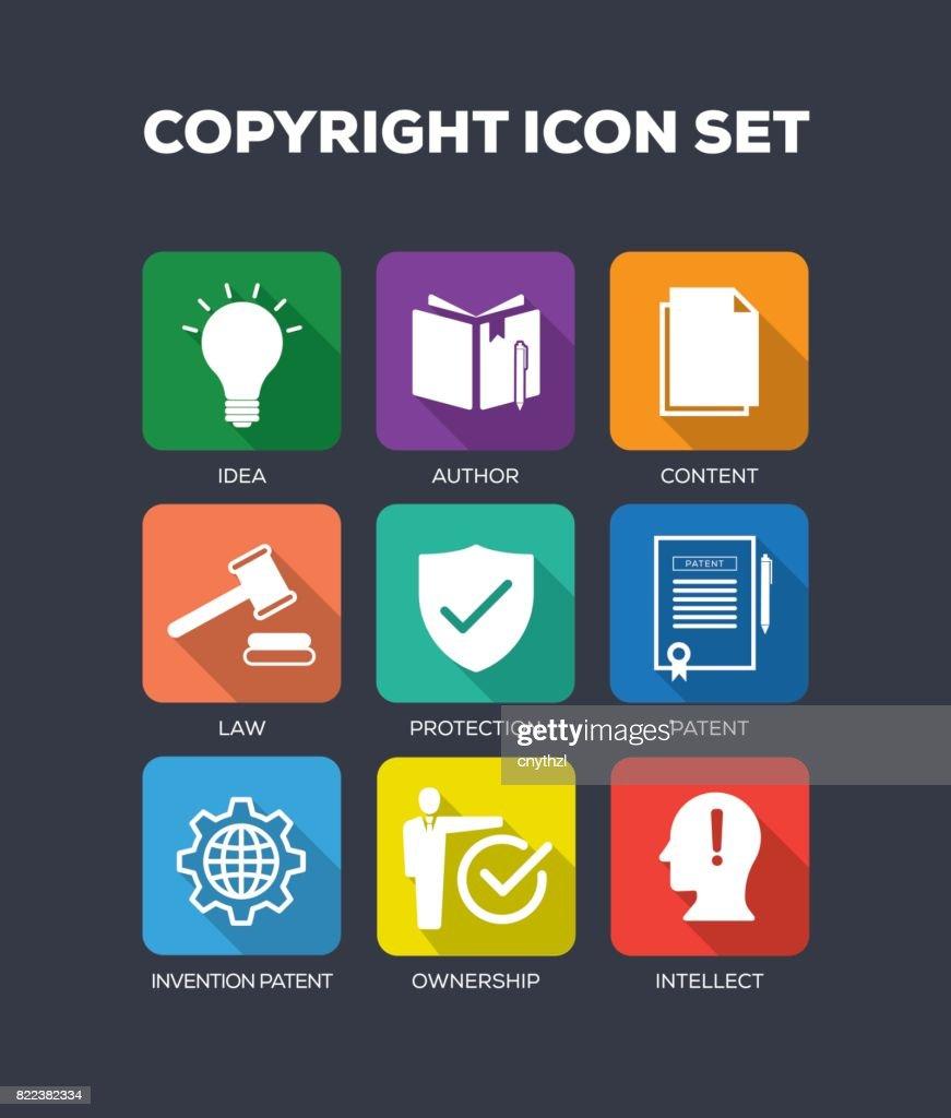Copyright Concept Flat Icons Set : stock illustration