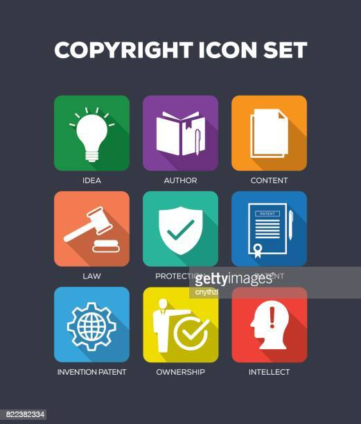 copyright concept flat icons set - validation stock illustrations, clip art, cartoons, & icons