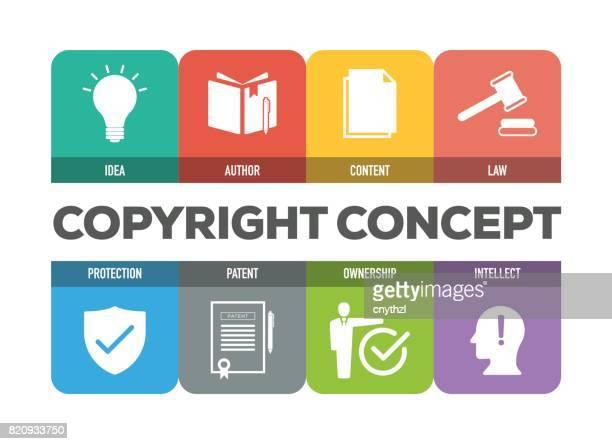 著作権概念のアイコンを設定 - 知的財産点のイラスト素材/クリップアート素材/マンガ素材/アイコン素材