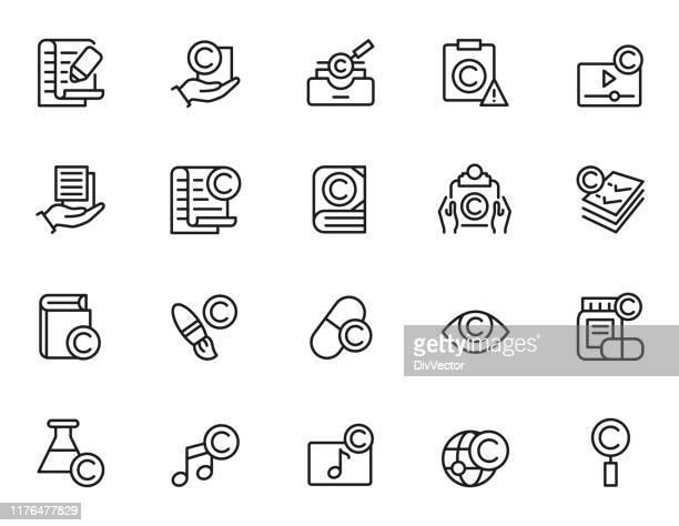 著作権アイコンセット - 知的財産点のイラスト素材/クリップアート素材/マンガ素材/アイコン素材