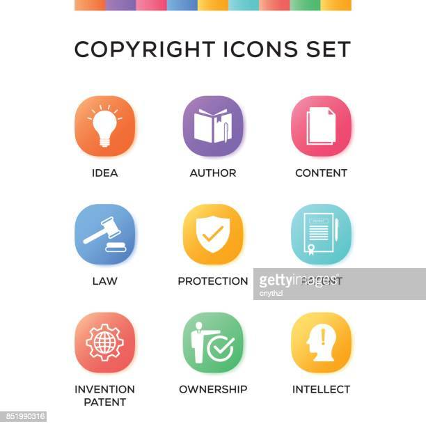 Copyright Icons Set on Gradient Background