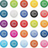 Copyright sign satin circle icon web internet button reflection shadow
