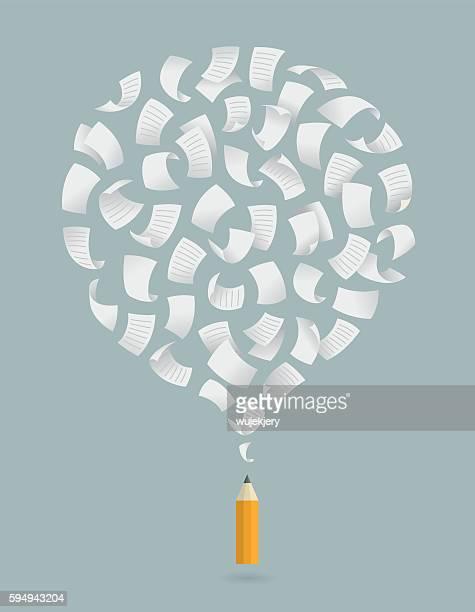 copywriting, creative, thinking, idea, concept illustration - literatur stock-grafiken, -clipart, -cartoons und -symbole