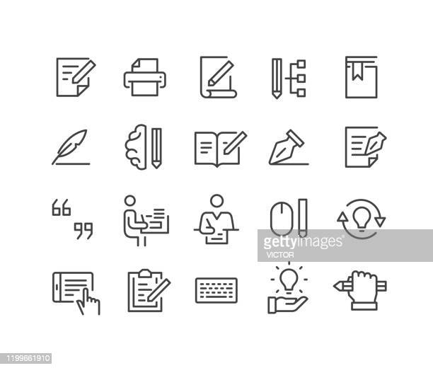 ilustraciones, imágenes clip art, dibujos animados e iconos de stock de iconos de escritura - classic line series - escribir