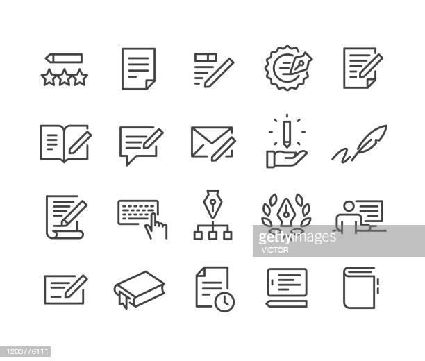copywriting icons set - classic line series - bericht stock-grafiken, -clipart, -cartoons und -symbole
