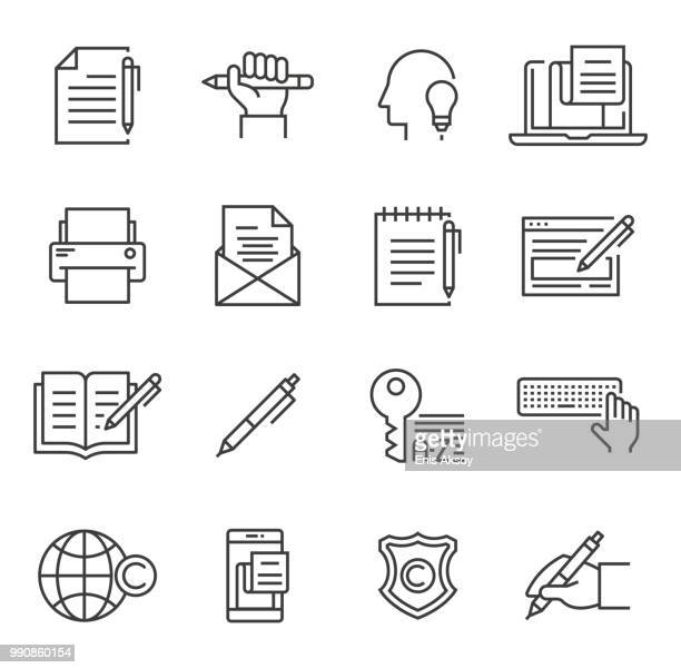 illustrazioni stock, clip art, cartoni animati e icone di tendenza di copywriting icons - authors