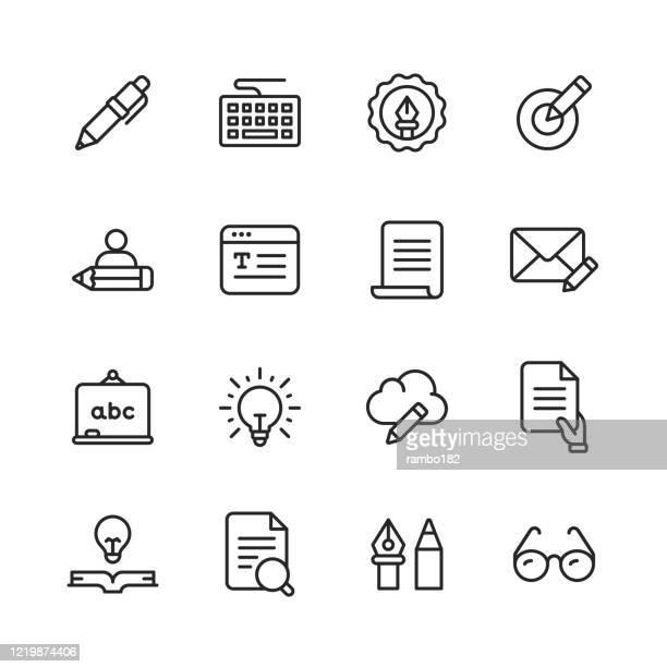 コピー書き込みライン アイコン。編集可能なストローク。ピクセルパーフェクト。モバイルとウェブ用。鉛筆、新聞、雑誌、ペン、書き込み、読書、ブレーンストーミング、創造性、タイプ - コンピュータキーボード点のイラスト素材/クリップアート素材/マンガ素材/アイコン素材
