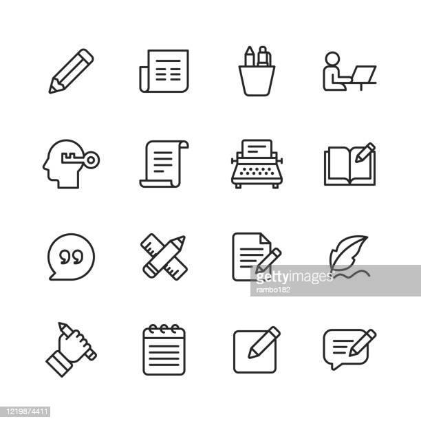 kopieren von zeilensymbolen. bearbeitbarer strich. pixel perfekt. für mobile und web. enthält symbole wie bleistift, zeitung, magazin, stift, schreiben, lesen, brainstorming, kreativität, schreibmaschine, marketing, buch, notizbuch, zitat, tastatur, ide - bericht stock-grafiken, -clipart, -cartoons und -symbole