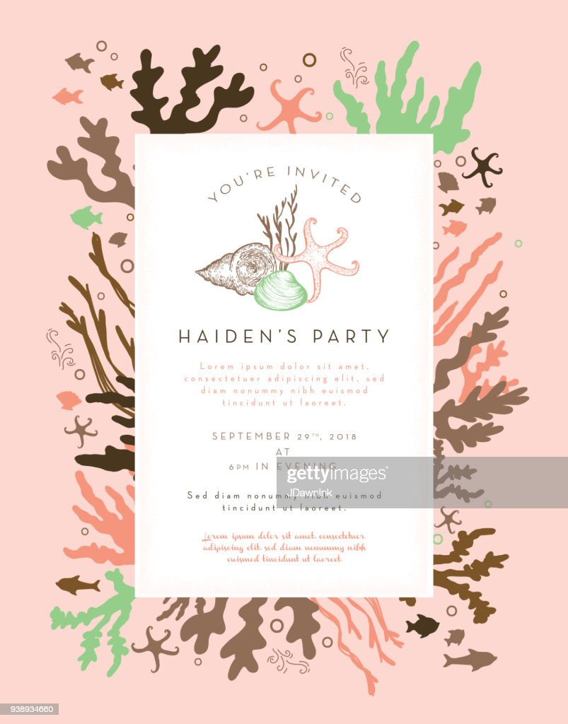 coral plants and fishes party invitation layout design template
