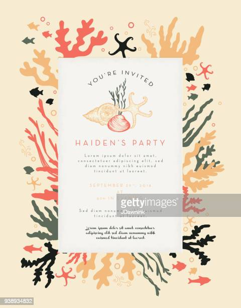 Korallen Pflanzen und Fische Party Einladung Layout Design-Vorlage