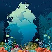 Coral reef and manta. Underwater vector.