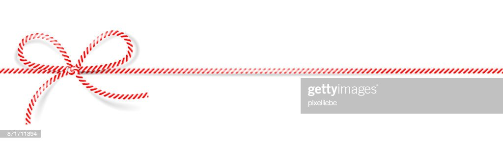 Cord bow red white isolated