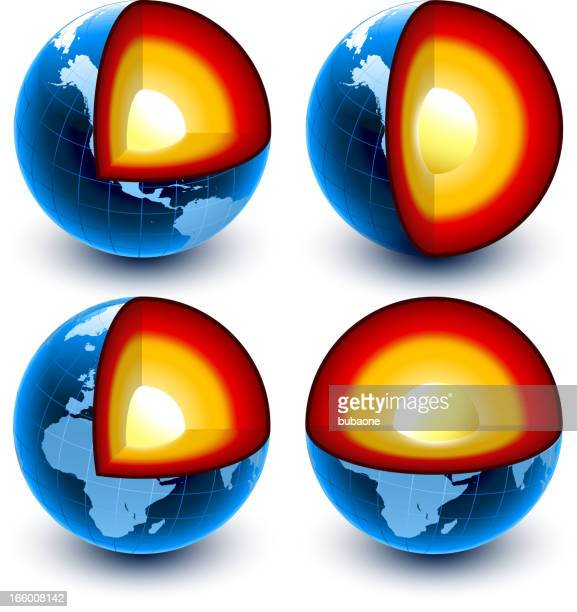core der erde globus-kollektion - lava stock-grafiken, -clipart, -cartoons und -symbole