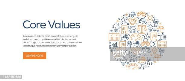 core values banner template with line icons. modern vector illustration for advertisement, header, website. - transparent stock illustrations