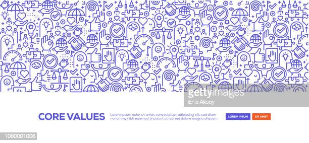 core values banner - small business stock illustrations