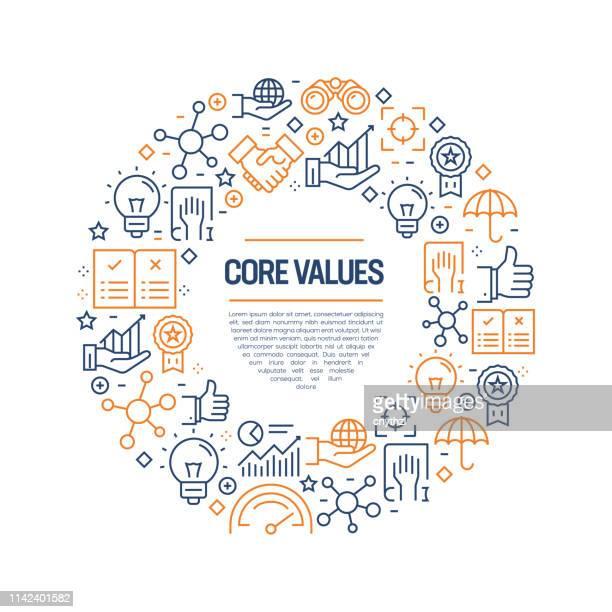 ilustraciones, imágenes clip art, dibujos animados e iconos de stock de concepto de valores básicos-iconos de línea colorida, organizados en círculo - determinación