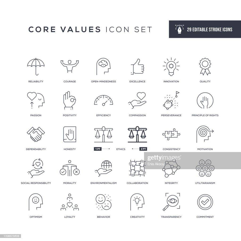 Core Values Editable Stroke Line Icons : stock illustration