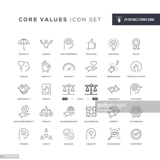core values editable stroke line icons - dedication stock illustrations