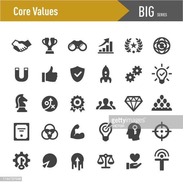 core values icon set - big series - perfection stock illustrations