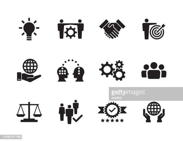 core values icon set - determination stock illustrations