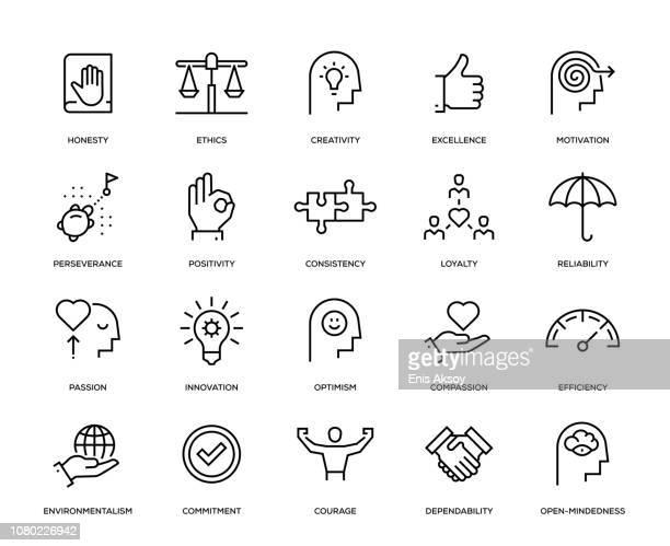 core values icon set - courage stock illustrations