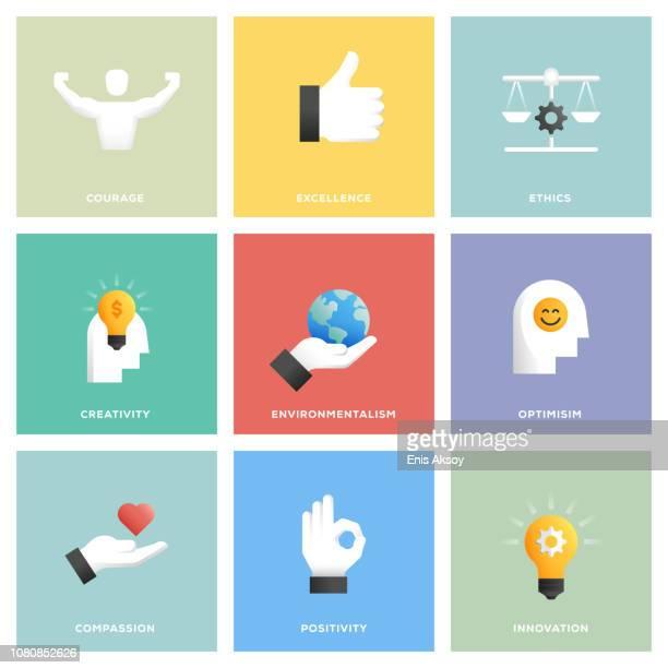 kern-werte-icon-set - loyalität stock-grafiken, -clipart, -cartoons und -symbole
