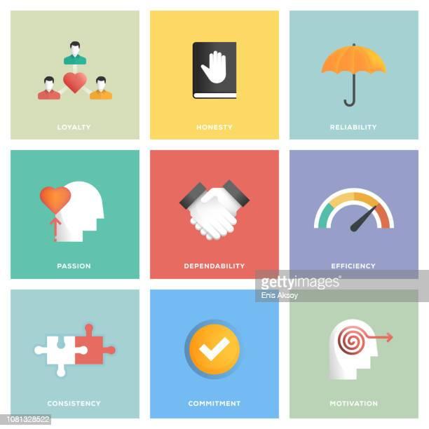 core values icon set - loyalty stock illustrations