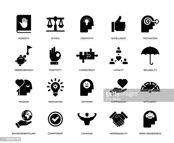 stockillustraties, clipart, cartoons en iconen met kernwaarden icon set - hardnekkigheid