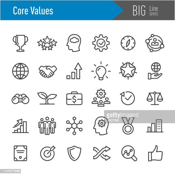 illustrazioni stock, clip art, cartoni animati e icone di tendenza di core values icons - big line series - culture