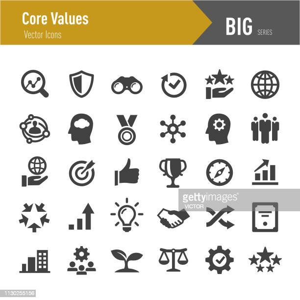 stockillustraties, clipart, cartoons en iconen met kern waarden icons - grote reeksen - effectiviteit
